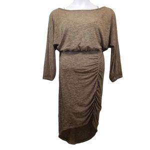 Free People M Sweater Dress Gold Ruched Hi Low